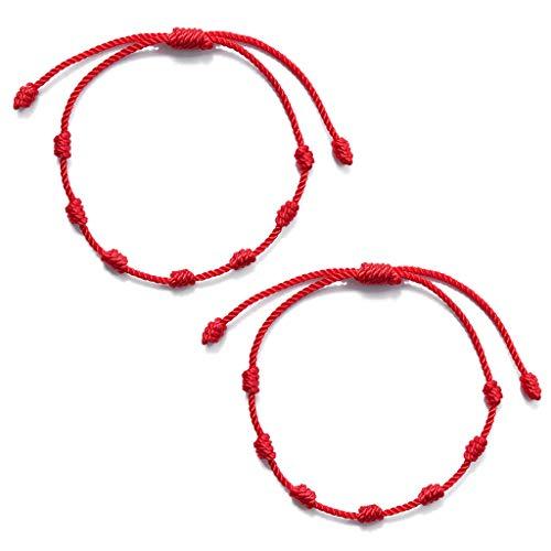 XIAN 2 pulseras de 7 nudos rojas para protección contra el mal de ojo, amuleto de la suerte para el éxito y la prosperidad