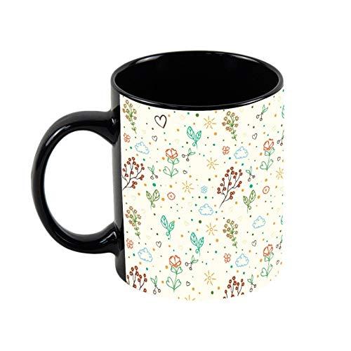 Taza de café negra con diseño de flores de acuarela, 325 ml, taza de café y té de cerámica, regalo de Navidad para ella, regalo de amigo