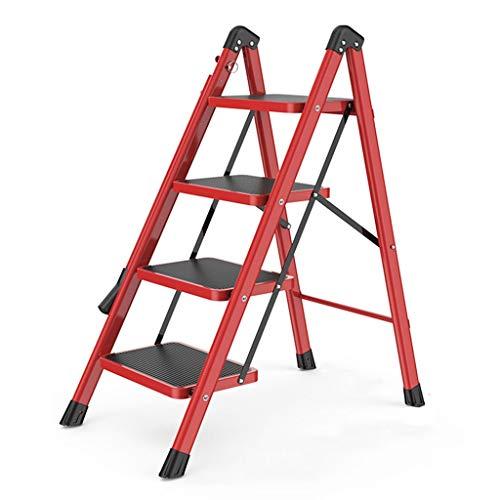 Escalera Del Taburete Inicio Escalera Plegable De Heces Cubierta Multifuncional Ascendente Escaleras 2 Paso Escaleras Escaleras Antideslizantes Con Apoyabrazos (Color : Red, Size : 49 * 88 * 104cm)