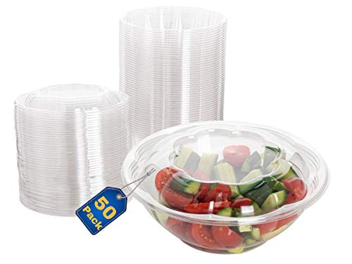 Smygoods Plastic Salad Bowls with lids 24 oz. [50 Sets] Disposable Salad Bowls With Airtight Lids,