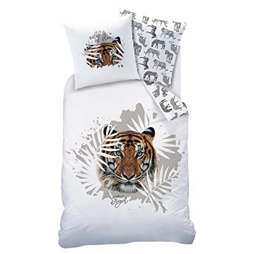 Matt&Rose Tiger Bettwäsche Set 135x200 · Kinderbettwäsche · Teenager-Bettwäsche · wild & Free, Safari & Blätter - Kissenbezug 80x80 + Bettbezug 135x200 cm - 100% Baumwolle