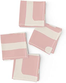 Roostery Cloth Cocktail Napkins, Pink Tan African Mudcloth Modern Tribal Clay Kuba Print, Linen-Cotton Canvas Cocktail Napkins, 10in x 10in, Set of 4