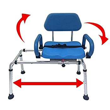 Carousel Sliding Transfer Bench with Swivel Seat Premium PADDED Bath and Shower Chair with Pivoting Arms Space Saving Design for Tubs and Shower.