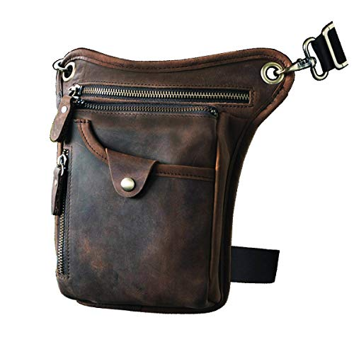 Le'aokuu Mens Genuine Leather Motorcycle Horse Riding Waist Pack Drop Leg Cross Over Bag (211-5 1 Dark Brown)
