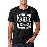 Bachelor Party Groom Drinking Team - Funny Grooms Wedding Eve Groomsman Novelty - Men's Tshirt (Black, Medium)