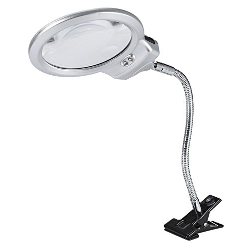 Grande con lupa de lámpara con abrazadera de luz LED, lupa de mesa, longitud de 18 pulgadas para sellos de periódicos, lupa de lectura de mapas de lectura