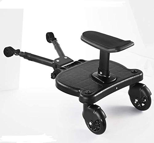Vogvigo Tabla de cochecito para niños pequeños, tablero de Kiddy con asiento de pie, conector para cochecito de bebé, diseño estable de dos ruedas
