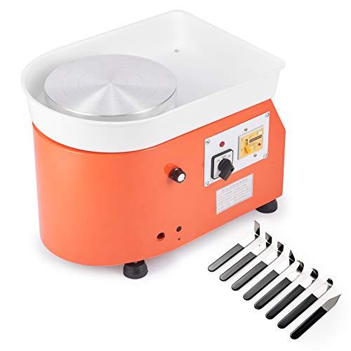 CO-Z 25CM 250W Máquina de Rueda de Cerámica Profesional Rueda de Cerámica Eléctrica 300 RPM con Kit de Cerámica de 8 Piezas Torno de Alfarero con Control de Pie para Niños y Adultos (control manual)