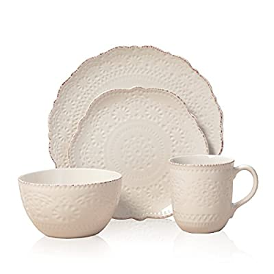 Pfaltzgraff 5143149 Chateau Cream 16-Piece Stoneware Dinnerware Set, Service for 4, Off White