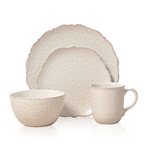 Pfaltzgraff Chateau Cream 16-Piece Stoneware Dinnerware Set, Service for 4, Off White