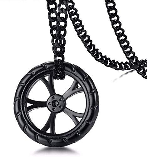 YZXYZH Collar Colgante De Rueda De Carreras De Neumáticos para Hombre, Collar De Acero Inoxidable, Llantas De Hip Hop, Joyería De Motociclista con 24 Pulgadas