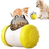 Tomicy XCSW- Comederos interactivos Gatos, Dispensador Interactivo de Alimentos Coche de Equilibrio de Juguete para Alimentos Adecuado para Gatos Perros (Amarillo)