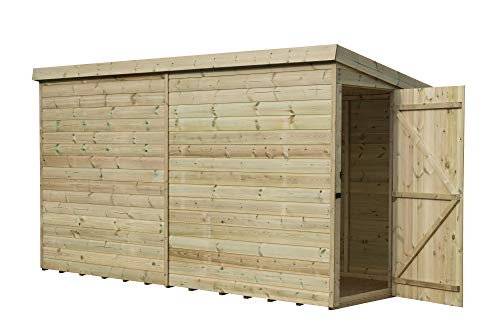 EMS Retail 10X7 GARDEN SHED SHIPLAP PENT ROOF TANALISED DOOR RIGHT END