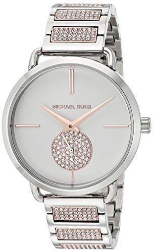 Michael Kors Women's Portia Stainless Steel Quartz Watch with Stainless-Steel-Plated Strap, Two Tone, 16 (Model: MK4352)