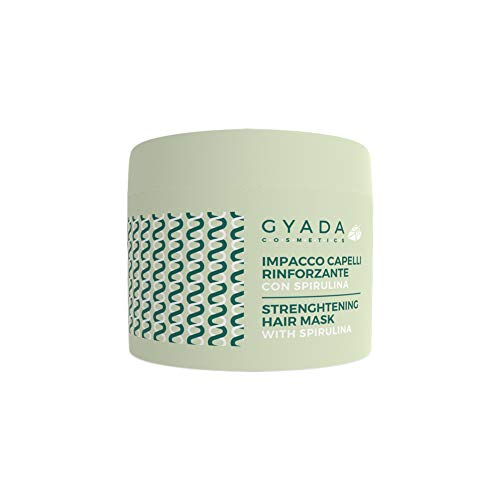 GYADA COSMETICS Impacco Capelli Rinforzante Con Spirulina Certificato Bio Made In Italy, Verde, 250 Millilitro