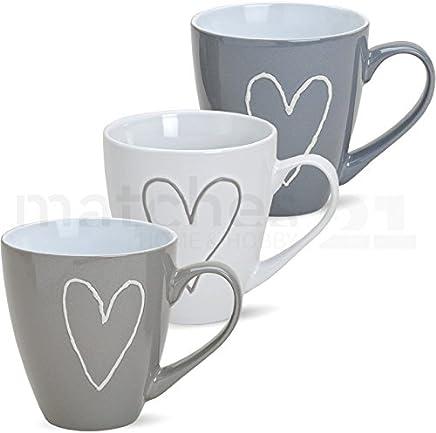 Preisvergleich für matches21 Großer Becher Tasse Kaffeetasse Kaffeebecher Herzen Herzdekor 1 Stk. Grau/beige/weiß sort. Keramik 11 cm / 400 ml B-WARE
