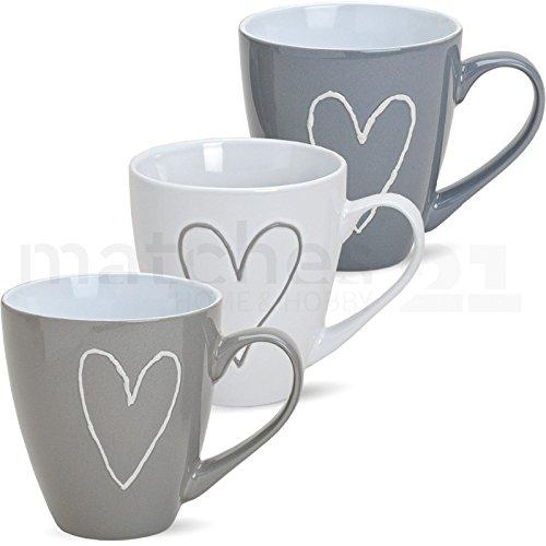 matches21 Großer Becher Tasse Kaffeetasse Kaffeebecher Herzen Herzdekor 1 Stk. Grau/beige/weiß sort. Keramik 11 cm / 400 ml B-WARE