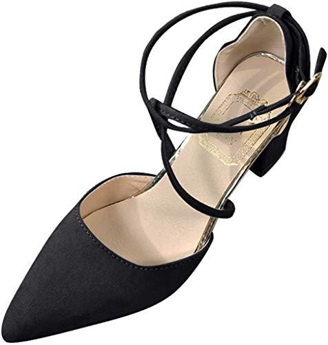 Damen Pumps Spitz Wildleder Knöchelriemen Mittelhohem Blockabsatz Spangenpumps Bequem Riemchenpumps Elegante Schuhe Frühling Sommer Sandalen Celucke