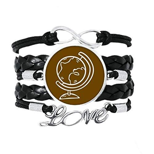 OFFbb-USA Globe World Teach Aid School Course pulsera de cuero trenzado para tejer pulsera de regalo