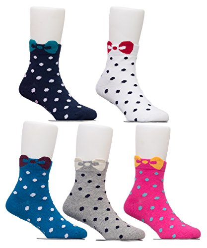 Maiwa Cotton Novelty Almost Seamless Crew Socks for Girls 5 Pack(4years-6years/Little Kid 10.5T-12.5T/16-18cm)
