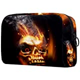 Yitian Bolsa cosmética de calavera de fuego para mujeres, adorables bolsas de maquillaje espaciosas bolsa de aseo de viaje