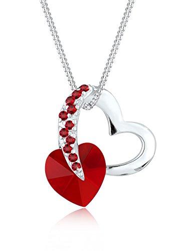 Elli Damen-Kette mit Herz-Anhänger 925 Sterling Silber mit Kristallen von Swarovski rot 45 cm - 0109631214_45