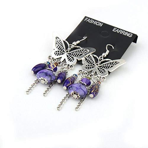 RKWEI Ohrringe für Damen 1 Paar Einfache Schmetterling Harz Vase Anhänger Weibliche Modeschmuck Charme Insekt Vintage Ohrringe A
