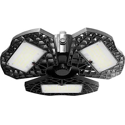 MIXJOY LED Garage Light with Motion Sensor, Deformable 60W Motion Activated Garage Ceiling Light 7200 Lumen, 3 Adjustable Panels LED Shop Lighting for Garage, Workshop, Warehouse, etc.