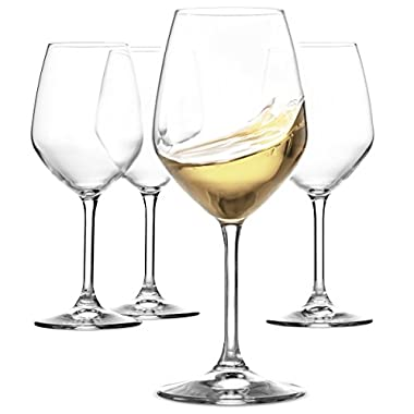 Paksh Novelty Italian White Wine Glasses - 15 Ounce - Lead Free - Shatter Resistant - Wine Glass, Clear (Set of 4)