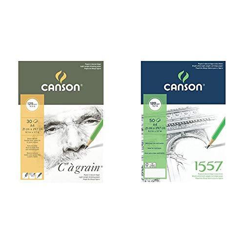 canson Bloc Encolado, A4, 30 Hojas, C à Grain, Grano Fino 125g + colado, A4, 50 Hojas, Canson JA 1557, Grano Fino 120g