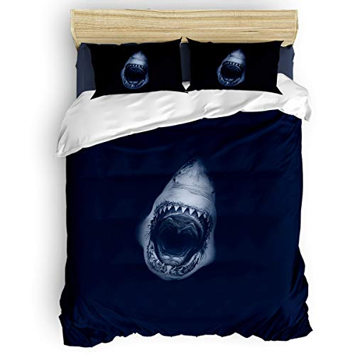 Big buy store Wild Shark 4 Piece Duvet Cover Set Marine Animal Bed Sheets Quilt Cover for Kids/Adults Bedroom Decoration Queen Size