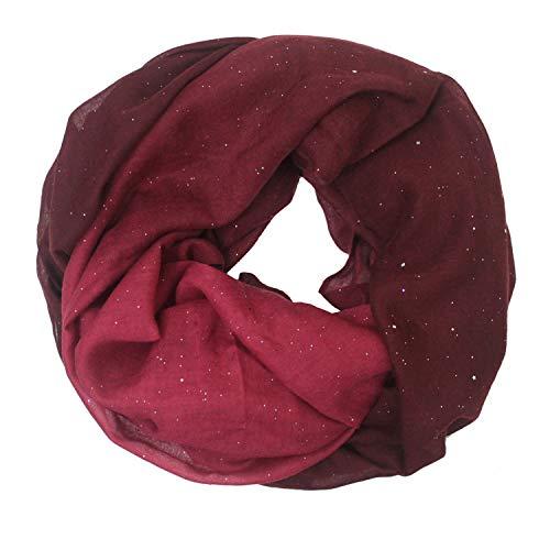 Glamexx24 Neue Kollektion Damen schal leichter Langschal Loop Schlauchschal Tuch Viele Farben, Dunkelrot Rot, Einheitsgröße