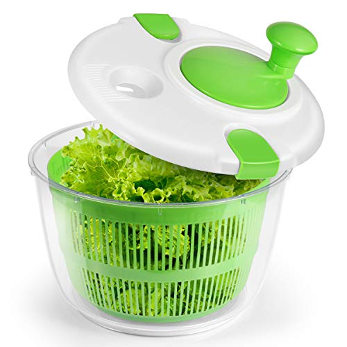 Salad Spinner, 5L Large Manual Lettuce Spinner With Secure Lid Lock & Rotary Handle, BPA Free Dry Off & Drain Lettuce for Tastier Salads and Faster Food Prep