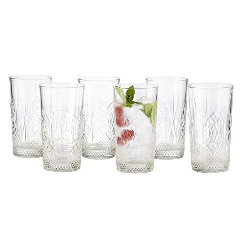 Buddy´s Bar - 6er Set Trinkgläser, Wassergläser, Longdrinkgläser, Highball, Glas Ø 8,5 cm, H: 15,5 cm, 490 ml, transparent, 6 Stück