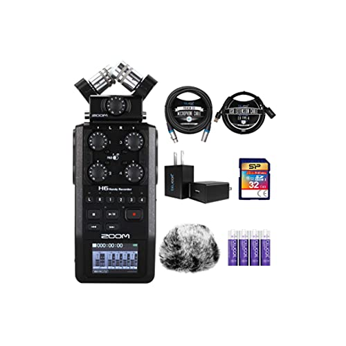 Zoom H6 All Black 6-Track Portable Audio Recorder Bundle with 32GB SDHC Memory Card, Blucoil 3' USB Extension Cable, USB Wall Adapter, 10-FT Balanced XLR Cable, 4 AA Batteries, and Furry Windscreen