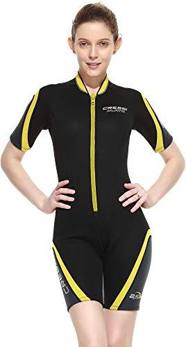 Cressi Playa Lady Shorty Wetsuit 2.5 mm - Traje Monoshort sin Capucha en Neopreno 2.5mm Biforrado, Mujer, Negro/Amarillo, XS
