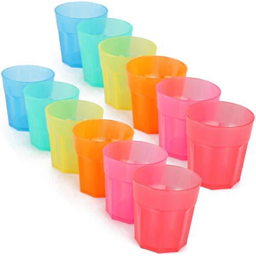 COM-FOUR® 12x bicchierini riutilizzabili stabili in plastica - bicchierini riutilizzabili in colori vivaci - ideali per compleanni e feste