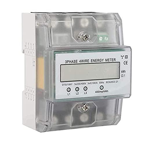 220/380V 5-100A Digitaler Stromzähler, Drehstromzähler Wattmeter, Energiemessgerät Direktmessend für DIN Hutschiene