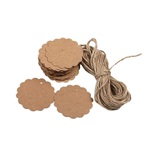 Mingtongli 100Pcs Blank Kraft Paper Tag Hanging Hole Gift Label DIY Craft Paper with Hairy Twine