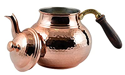 CopperBull Hammered Thickest Copper Tea Pot Kettle Stovetop Teapot,28 Oz