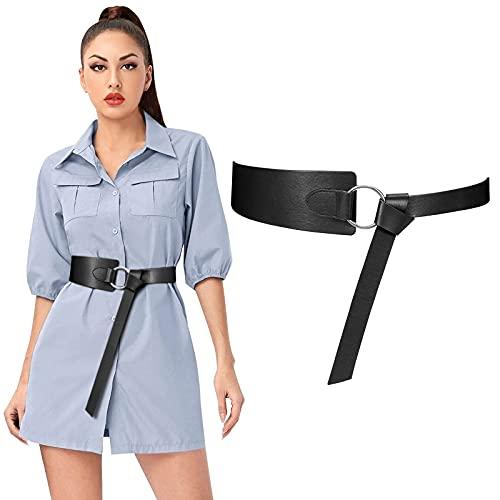 JasGood Damen breiter Ledergürtel, binden Sie einen Knoten aus PU-Leder verstellbarer Taillengürtel mit O-Ring-Schnalle für Kleid