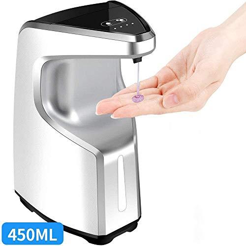 S SMAUTOP Dispensador automático de jabón, Jabón sin Manos 450ML sin Manos, Dispensador de jabón sobre encimera/montado en la Pared, Baño Adecuado, Cocinas, Hotel, Restaurante (Plateado)