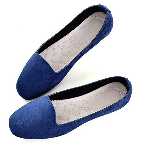 TN TANGNEST Slduv7 WomensComfortable Round Toe Ballet Flats Non Slip Flat Shoess Dark Blue 38(6.5)