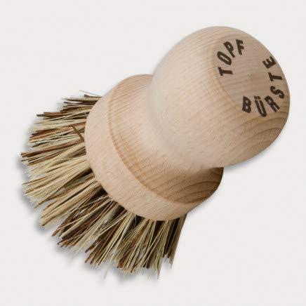 HOFMEISTER® Topfbürste, 8 cm, löst starken Schmutz aus Töpfen & Pfannen, schont die Antihaftbeschichtung, hitzebeständigen Union-Fibre-Naturborsten, Spülbürste aus EU Buchen-Holz