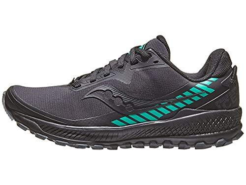 Saucony Women's Peregrine ICE+ 2.0 Trail Running Shoe, Black/Jade, 10