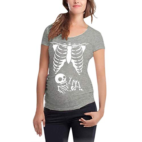 Umstandskleidung Damen Baby Bauch Skelett T-Shirt Jersey Oberteil für Schwangere Umstandsmode Langarmshirt Umstandsshirt Lässige Simple Tunika Tops...