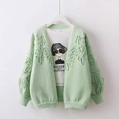 Dames pullover en pullover pullover vrouwelijk herfst en winter Koreaanse stijl bloem gebreide jas kerngaren pullover mantel boord vloer shirt vrouwelijke pullover, JUSTTIME Eén maat groen