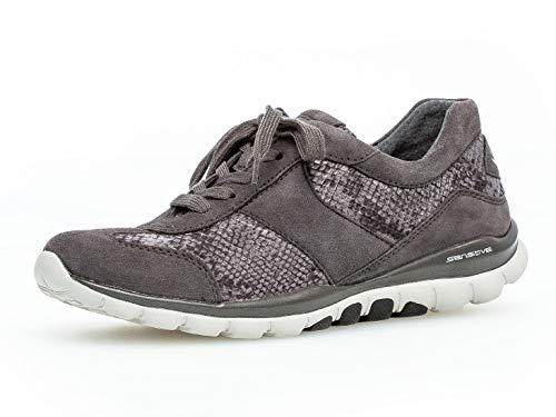 Gabor Damen Sneaker 36.960, Frauen Low-Top Sneaker,Halbschuh,Sportschuh,Schnürschuh,atmungsaktiv,Carbone,38.5 EU / 5.5 UK