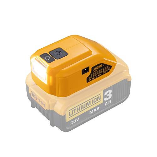 Batterieadapter für Dewalt 14,4 V / 18 V / 20 V Lithium-Ionen-Batterie, DC-Anschluss und LED-Arbeitsscheinwerfer sowie Zwei USB-Ladegeräte, Stromquelle, Netzteil Kompatibel mit Dewalt DCB090 DCB091