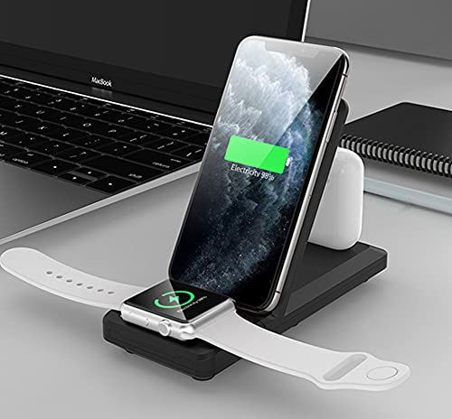 3 en 1 Cargador inalámbrico Plegable, Soporte de Cargador inalámbrico Qi Fast 15W para Airpods/Apple Iwatch Series 5/4/3/2 Dock de Carga inalámbrica para iPhone
